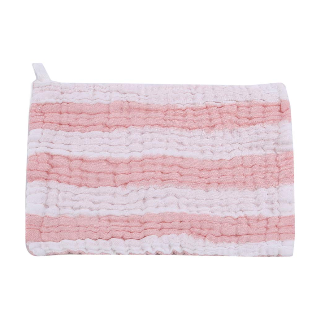 LIUCM 6 Layers of Gauze Saliva Baby Towel Cotton Color Baby Small Square Towel Pink White Strip