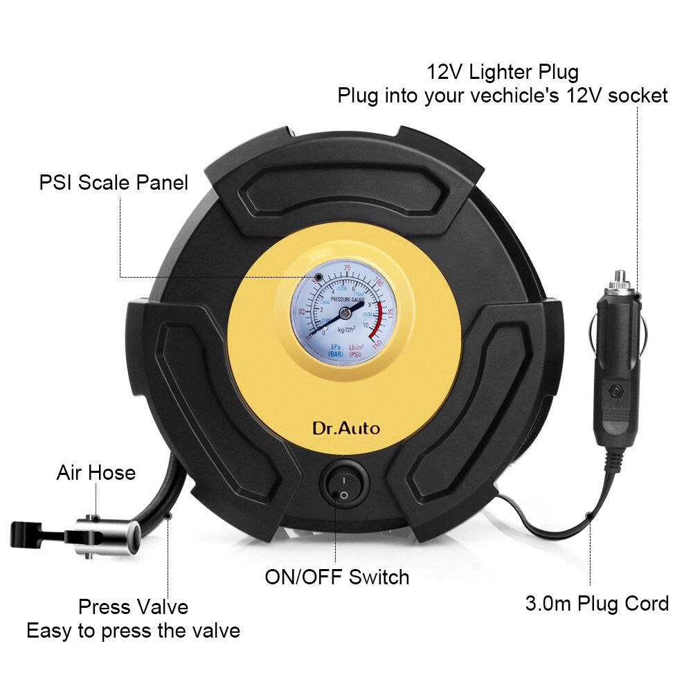 Amazon.es: Dr.Auto Compresor de Aire Portátil, Compresor Aire ...