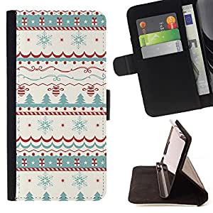 King Air - Premium PU Leather Wallet Case with Card Slots, Cash Compartment and Detachable Wrist Strap FOR Samsung Galaxy S5 V SM-G900 G9009 G9008V- Merry Christmas Tree Green Red Deer Snow