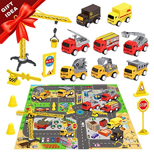 "Construction Vehicles Toys with Play Mat, 8 Construction Cars and Crane, 6 Road Signs and 27.5"" x 31.5"" Playmat, Friction Powered Cars Play Sets, Toy Trucks, Toy Gift for Boys, Girls, Kids & Children"