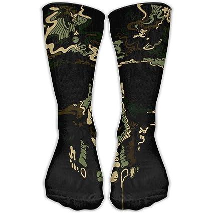 WEEDKEYCAT - Calcetines largos para hombre o mujer, diseño de calavera de pirata con camuflaje