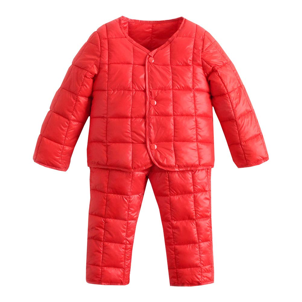M&A Little Kids Girl and Boy Winter Casual Down Puffer Jacket and Pants Warm Coat 2Pcs Set