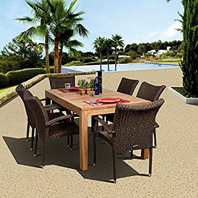 Amazonia Brussels 7-Piece Teak/Wicker Rectangular Dining Set, Light Brown - Amazonia Teak Collection 1 rectangular table 35w x 63d x 29h 6 armchairs 23w x 25d x 35h High Quality Teak Wood (Tectona Grandis) - patio-furniture, dining-sets-patio-funiture, patio - 610efPXhmtL. SS400  -