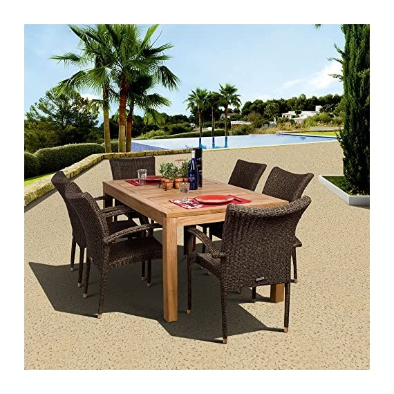 Amazonia Brussels 7-Piece Teak/Wicker Rectangular Dining Set, Light Brown - Amazonia Teak Collection 1 rectangular table 35w x 63d x 29h 6 armchairs 23w x 25d x 35h High Quality Teak Wood (Tectona Grandis) - patio-furniture, dining-sets-patio-funiture, patio - 610efPXhmtL. SS570  -