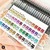 Watercolor Brush Markers Pen, Ohuhu 48 Colors Water Based Drawing Marker Brushes W/A Water Coloring Brush, Water Soluble for Adult Coloring Books Calligraphy Mother's Day Back To School Gifts