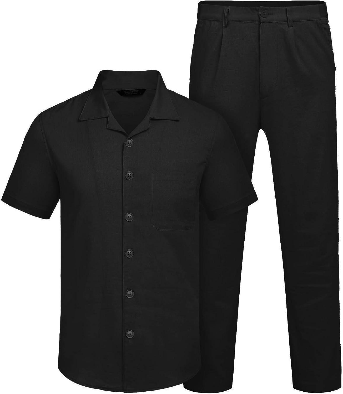 COOFANDY Herren Gehset Leinen aus Baumwollmischung,2 St/ück,mit Langer Hose und Kurzarmhemd einfarbig