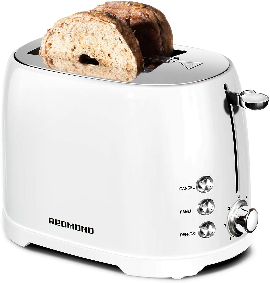 "REDMOND Retro Toaster 2 Slice Stainless Steel Compact Bagel Toaster with 1.5""Extra Wide Slots, 7 Bread Shade Settings, Removable Crumb Tray for Breakfast, 800W (White)"