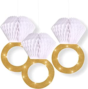 Bachelorette Party Decorations Bridal Shower Supplies  Honeycomb Ring Hanging Decorations,Glitter Gold Diamond Ring,Perfect for Engagement Wedding Party And Bridal Shower