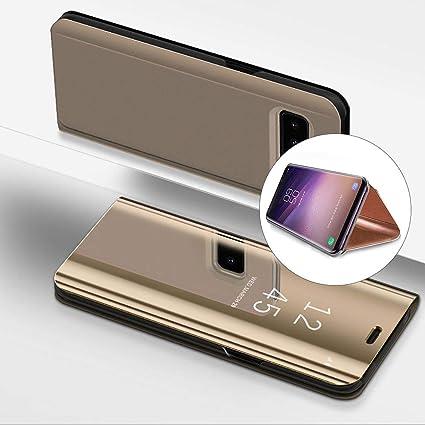 Coque Samsung Galaxy S8 Plus Rabat Transparent Clapet Mirroir Flip Cover Miroir à rabat Portefeuille PU Cuir Housse Étui De Protection Galvanoplastie ...
