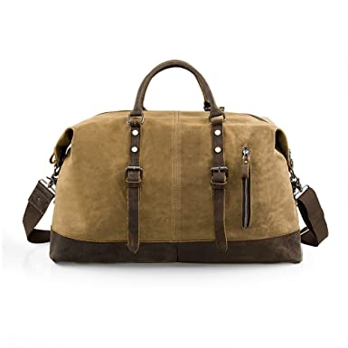 03722fef3a Wonder Youth Oversized Waterproof Canvas Duffle Bag Weekend Gym Bag with Leather  Trim- Khaki