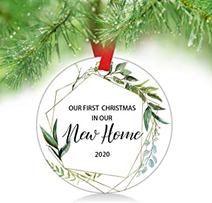 "ZUNON First Christmas New Home 2020 Our First Christmas as Mr & Mrs Couple Married Wedding Decoration 3"" Ornament (New Home 2020)"