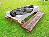 Ambesonne Cartoon Outdoor Tablecloth, Image of Big Gorilla Like as Professional Athlete Bodybuilding Gym Animal, Decorative Washable Picnic Table Cloth, 58 X 84 inches, Black White Grey