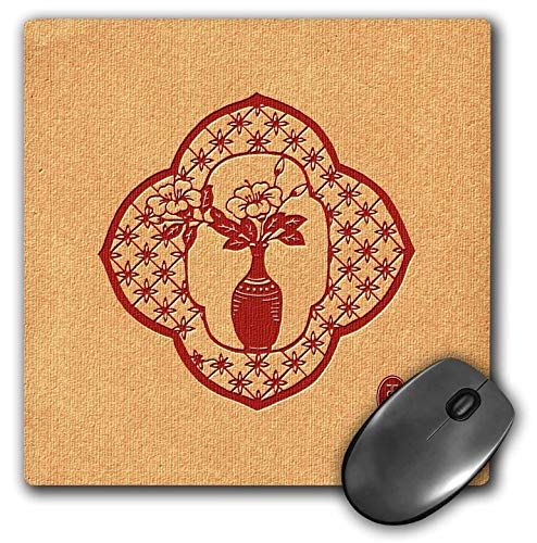- 3dRose Russ Billington- Beautiful China Series - Flower Vase in Quatrefoil Trellis Design - Mousepad (mp_238801_1)