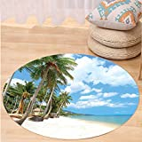 VROSELV Custom carpetOcean Decor Collection Tropical Beach View with Exotic Palm and Clean Sand by the Sea Hawaii Style Paradise Bedroom Living Room Dorm Multi Round 79 inches