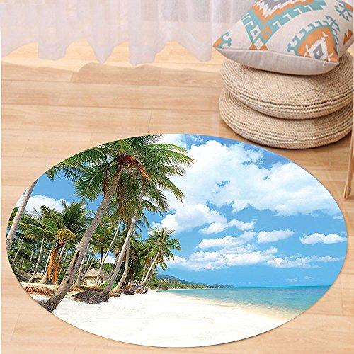 VROSELV Custom carpetOcean Decor Collection Tropical Beach View with Exotic Palm and Clean Sand by the Sea Hawaii Style Paradise Bedroom Living Room Dorm Multi Round 79 inches by VROSELV