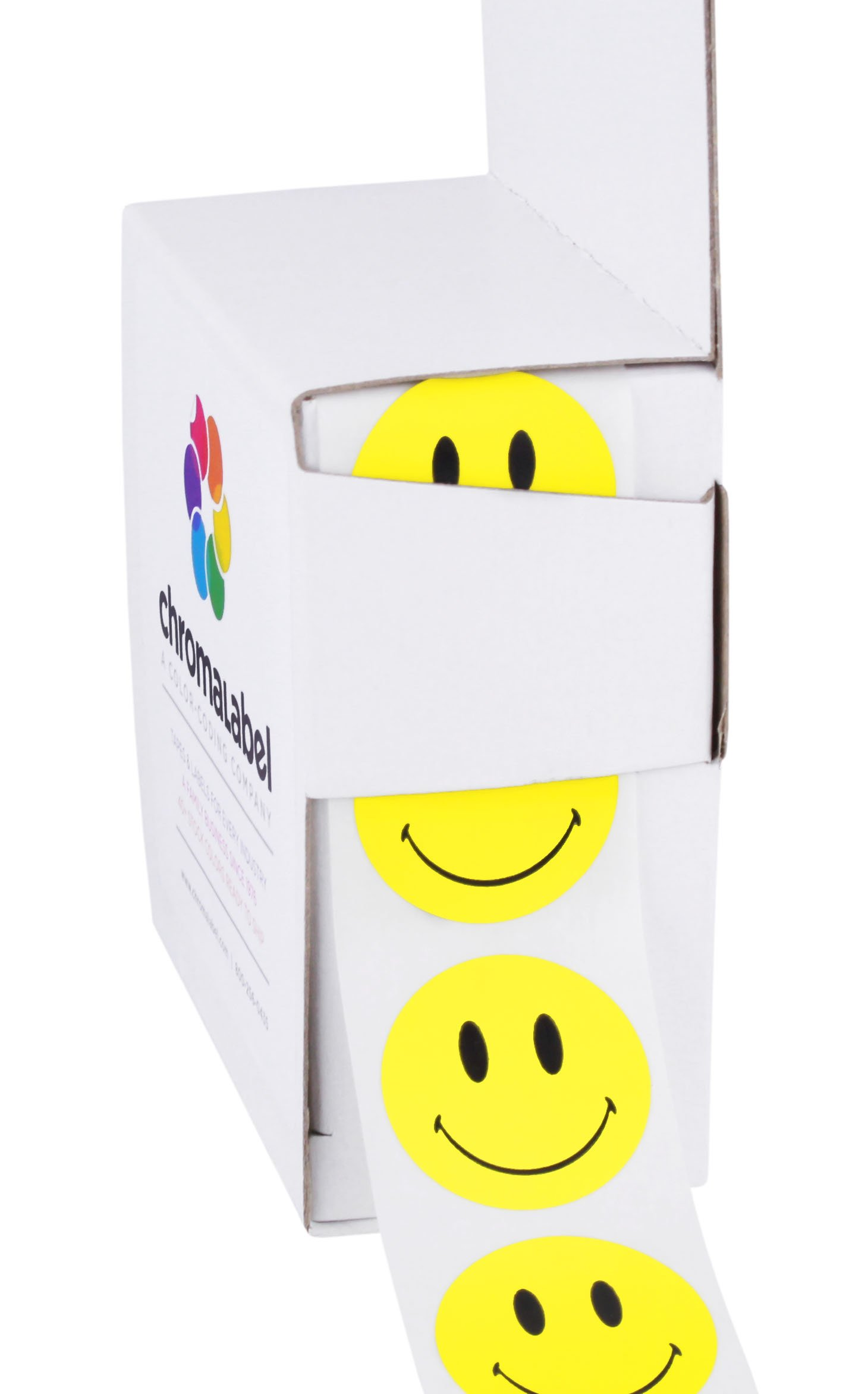 ChromaLabel Smiley Face Stickers   1,000/Dispenser Box (1 inch)