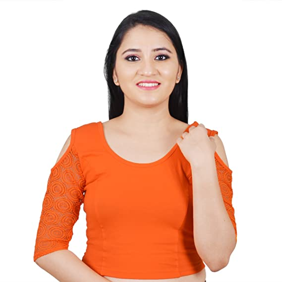 36688040f32da Salwar Studio Orange Cotton Lycra Cold Shoulder Stretchable Readymade Free  Size Saree Blouse for Women  Amazon.in  Clothing   Accessories