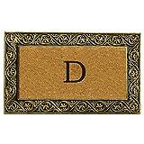 """Home & More 10001GOLDD Prestige Doormat, 18"""" x 30"""" x 1"""", Monogrammed Letter D, Natural/Gold"""