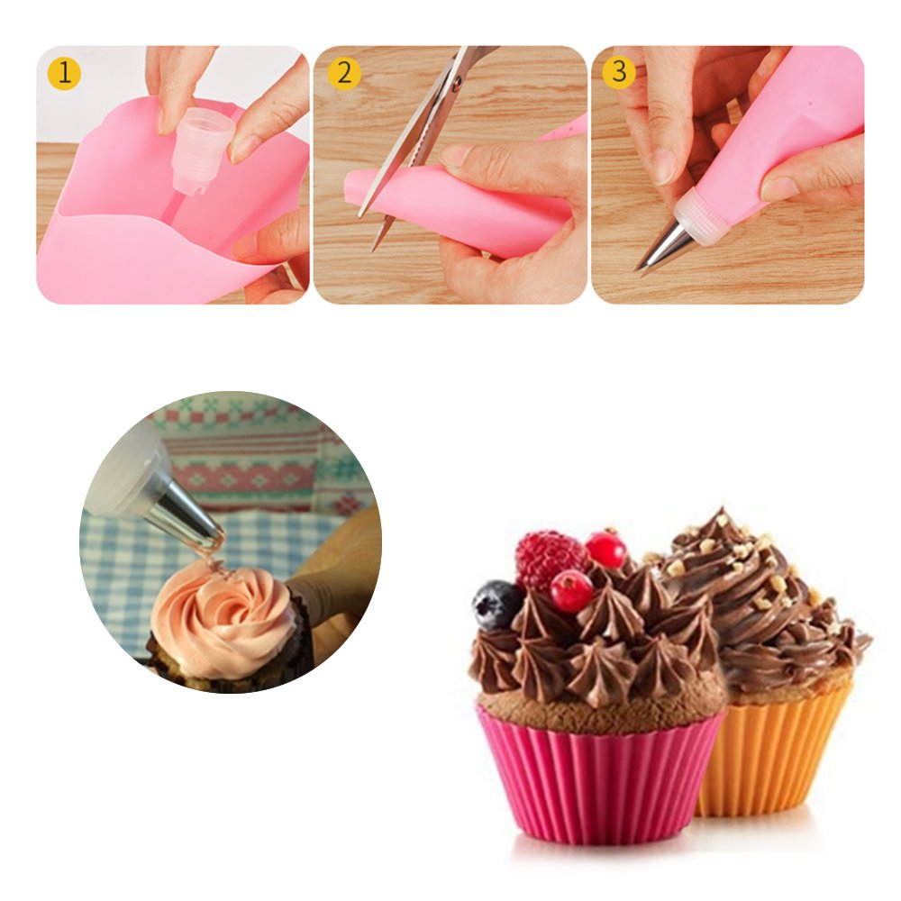LKE 38 Pieces Cake Decorating Supplies Kit with 32 Icing Tips, 2 Silicone Pastry Bags, 2 Flower Nails, 2 Reusable Plastic Couplers Baking Supplies Frosting Tools Set for Cupcakes Cookies by LKE (Image #3)
