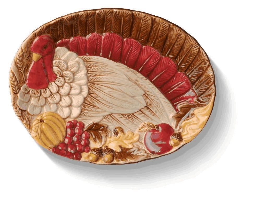 Grasslands Road Thankful Turkey Tidbit Plate 470381 B00LK9DP98