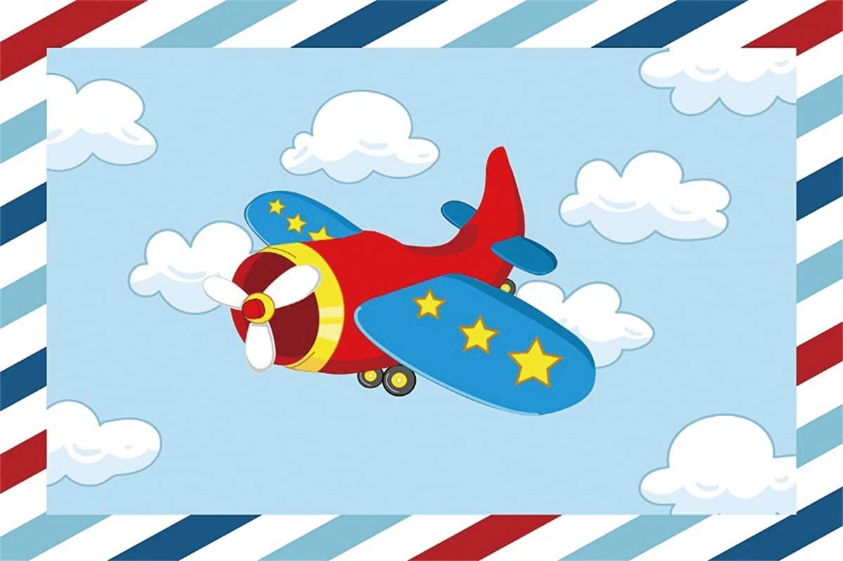 YEELE Airplane Backdrop 10x8ft Kids Birthday Party Photography Background Boys First 1st Birthday Cake Table Baby Shower Banner Son Daughter Artistic Portrait Photo Booth Props