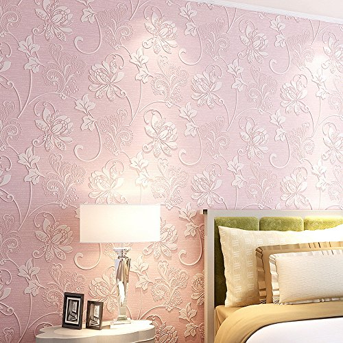 Country Luxury Pearlescent 3D Non-woven Elegant European Flocking Embossed Flower Damasks Modern Wallpaper Wall Mural for Living Room Bedroom 20.7 x 394 inches (Pink) (Damask Pink Wallpaper)