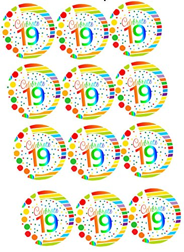 CakeSupplyShop Item#RE-019 Happy 19th Birthday 2inch Rainbow Edible Cupcake / Cookie Frosting Image Toppers -12ct