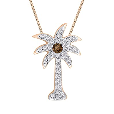 Amazon cognac and white diamond palm tree pendant necklace in amazon cognac and white diamond palm tree pendant necklace in 14k rose gold 15 cttw color gh clarity i2 i3 jewelry aloadofball Images
