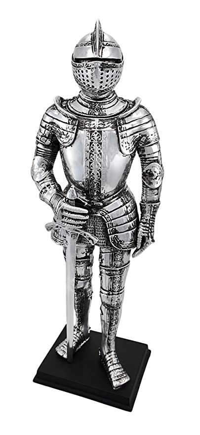 Amazon.com: Silver Finish Medieval Knight In Armor Statue Figure ...