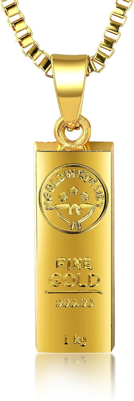 Halukakah ● In Gold We Trust ● Hombres 18K Oro Verdadero Plateado Barra de Oro Colgante Collar con Cadena de Cajas Gratis 30