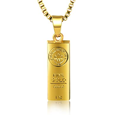 Halukakah in gold we trust mens 18k gold plated gold bar pendant halukakah quotin gold we trustquot mens 18k gold plated gold bar pendant necklace aloadofball Gallery