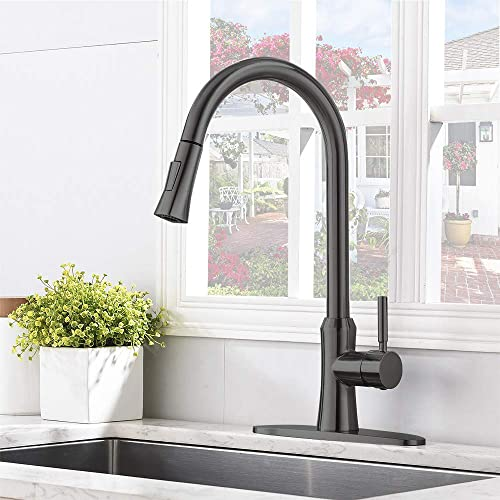 Comllen Best Commercial Matte Black Pull Down Kitchen Faucet, Single Handle Sink Faucets with Deck Plate