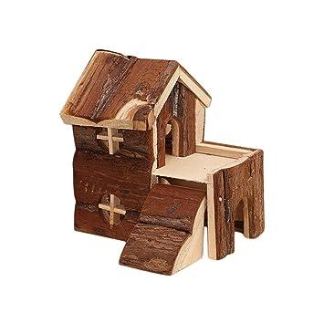 Spaufu - Caseta de Madera para hámster y Mascotas, 2 Capas, para Animales pequeños, 1 Unidad: Amazon.es: Hogar