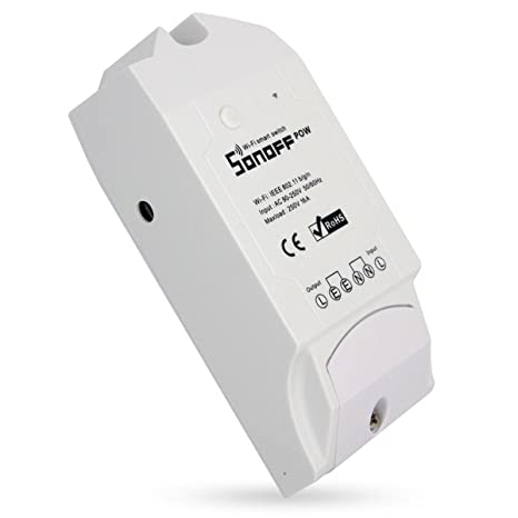 Sonoff Pow Interruptor WiFi Inalámbrico 16A con Medición del Consumo de Energía en Tiempo Real de Electrodomésticos IOS Android Remoto (Compatible con Alexa (Amazon Echo, Echo Dot y Amazon Tap)