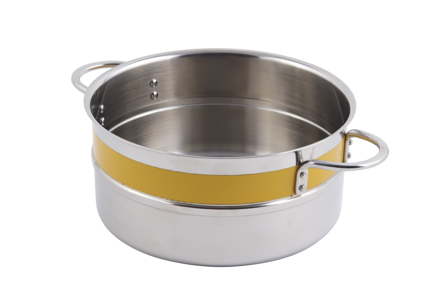 Bon Chef 62300NC Stainless Steel Classic Country French Collection Single Wall 1/2 Color Pot with Riveted Handle, 2.3-Quarts Capacity, 7-3/4'' Diameter x 3-1/2'' Height, Yellow