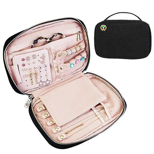 BUZIFU Joyero de Viaje Bolsa Organizador Joyas Estuches Joyeria Cajas para Joyeria con Muchos Compartimentos para Guardar Pendiente Anillo Pulsera ...