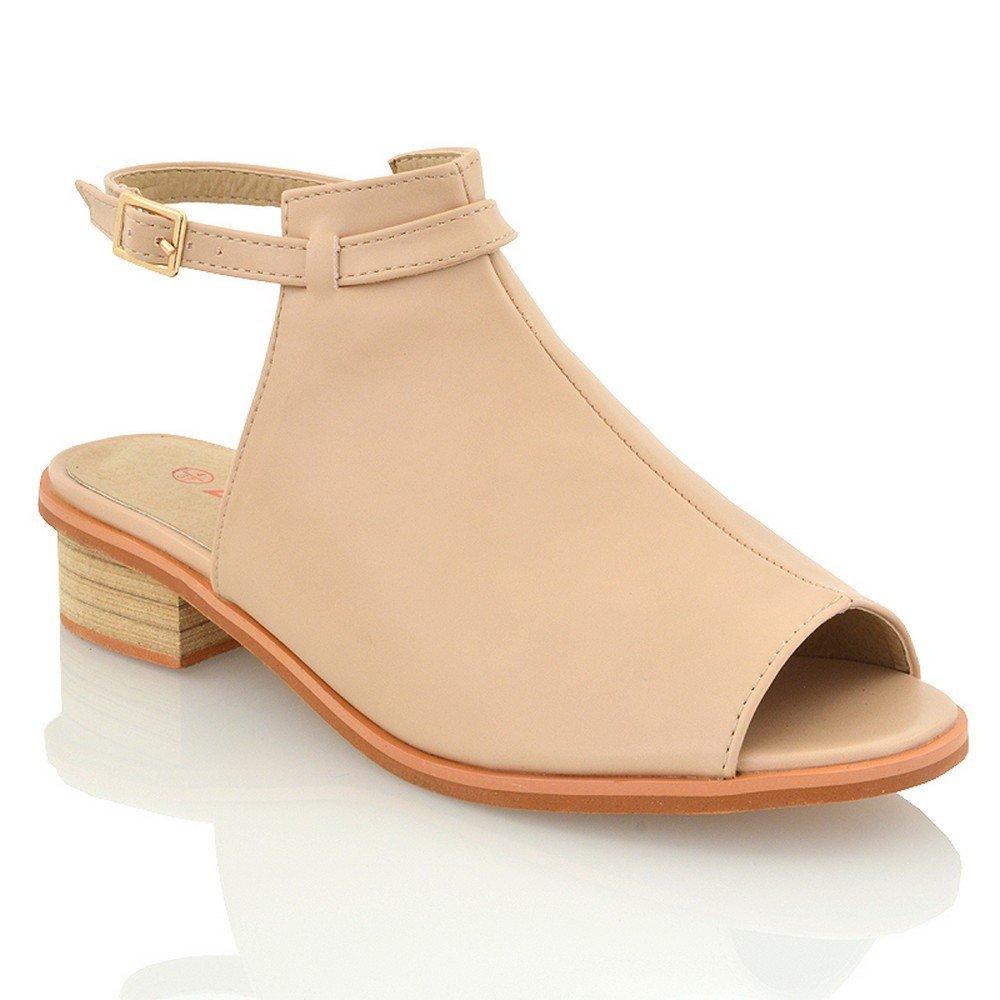 ESSEX GLAM Womens Peep Toe Sandals Flat Low Heel Backstrap Cut Out Ladies Summer Shoes