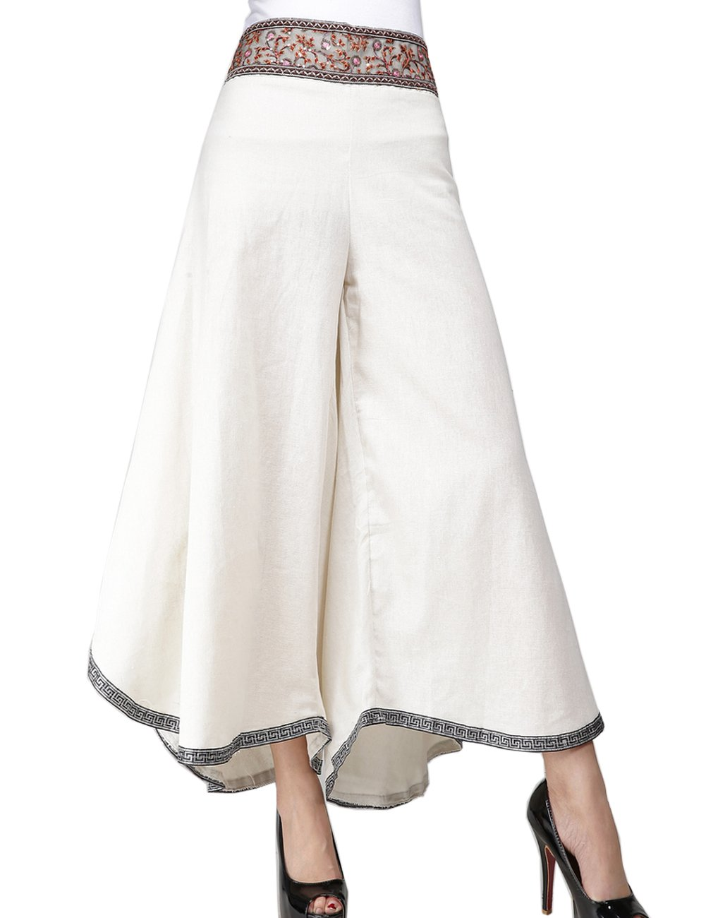 MIEIER Womens Elastic Waisted Embroidery Loose Wide Leg Pants Culottes