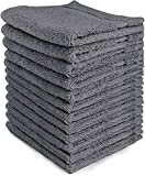 Luxury Cotton Washcloths (12-Pack, Grey, 12x12 Inches) - Easy Care, ...