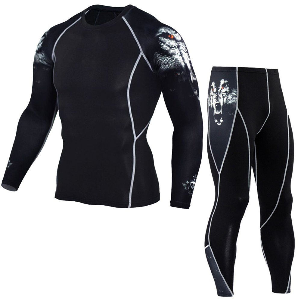1Bests Mens Running Fitness Quick Dry Long Sleeve Compression Shirt + Pants Sets