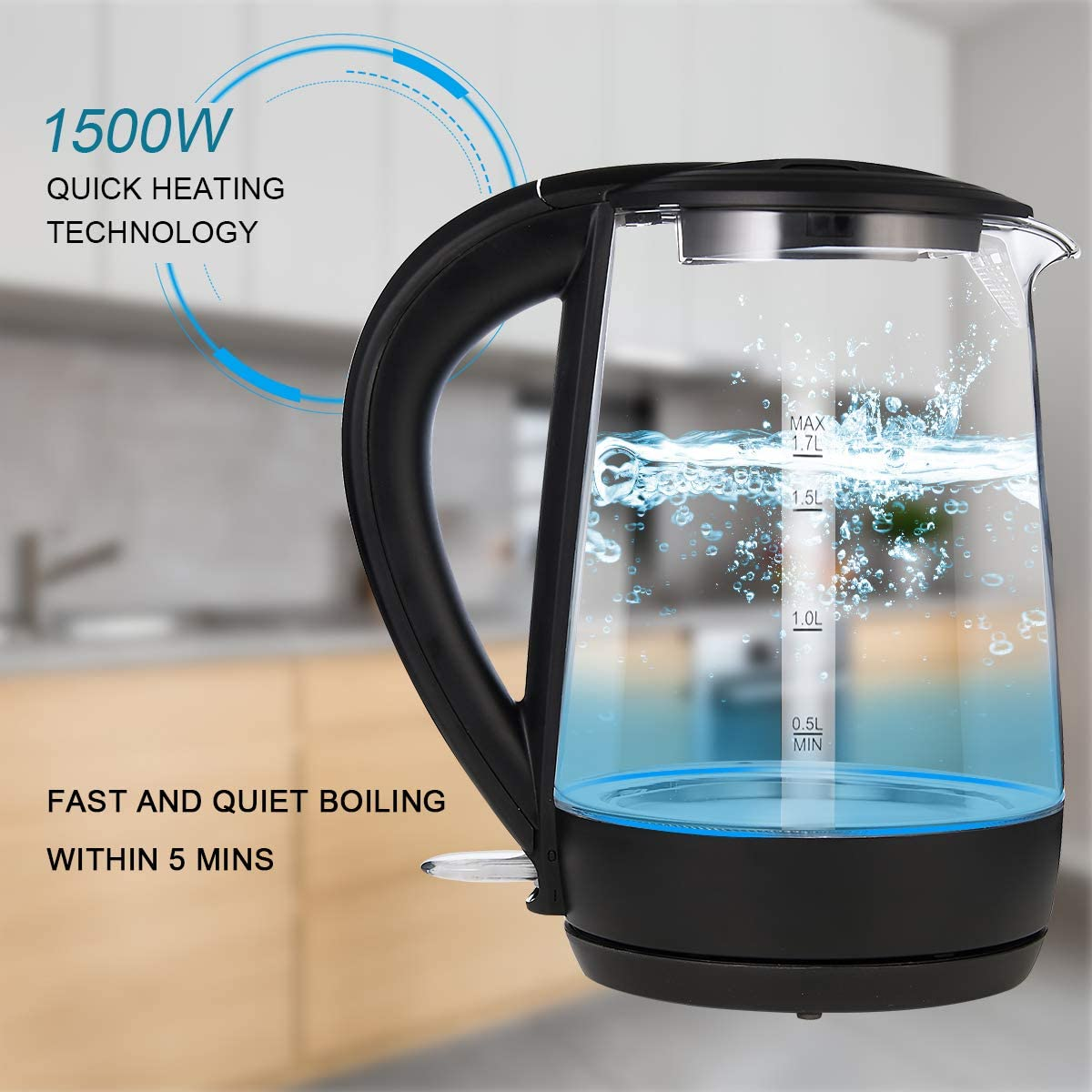1.7L Electric Glass Kettle Auto Shut-Off and Boil-Dry Protection Stainless Steel Inner Lid /& Bottom WHITE TIGER Large Capacity with LED Light