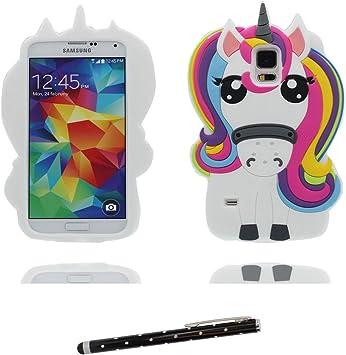 Carcasa Samsung Galaxy S5, 3D Cartoon unicornio Cover Samsung Galaxy S5 Funda Case, TPU flexible resistente a los arañazos deslizamiento polvo-unicorn y lápiz táctil: Amazon.es: Electrónica