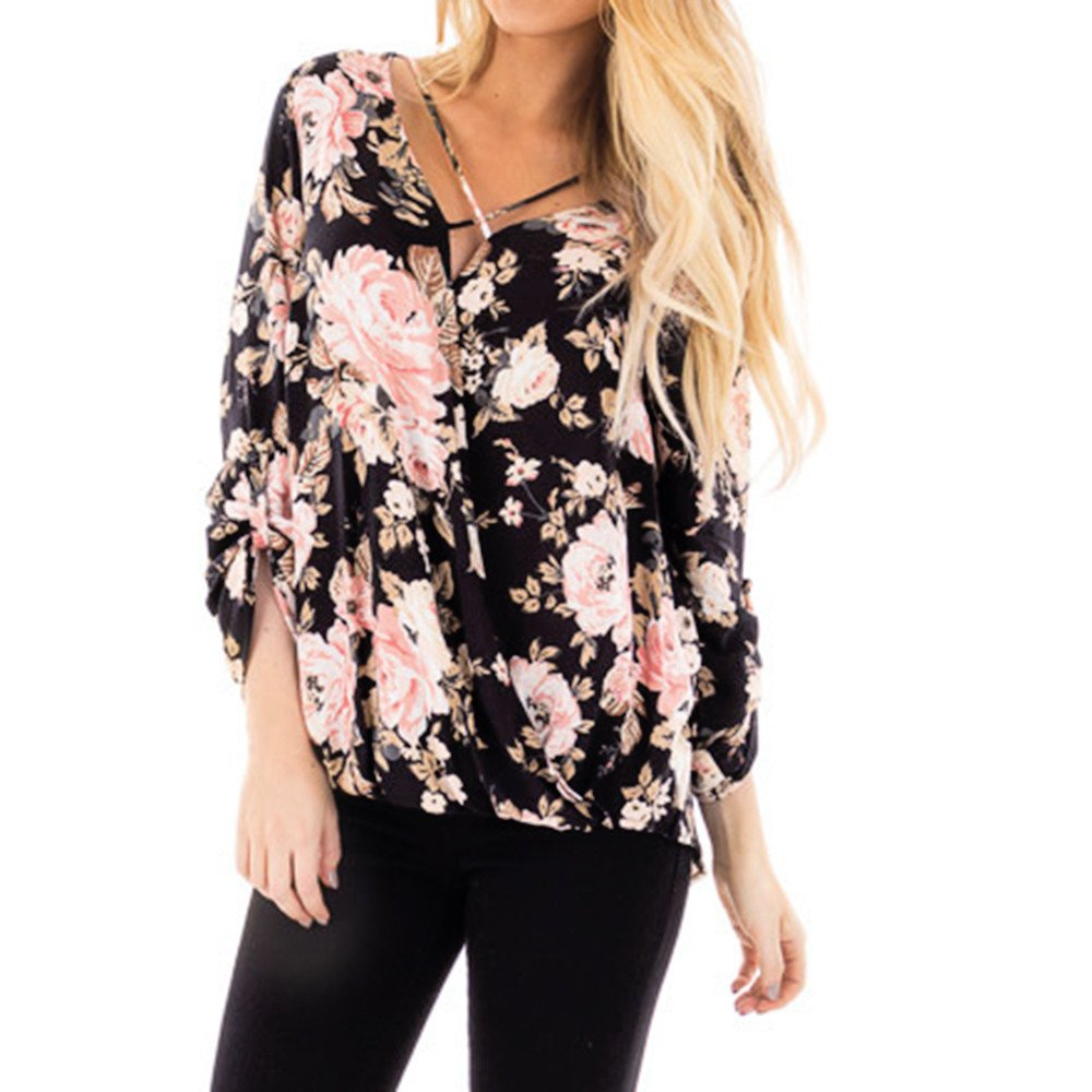 SMALLE◕‿◕◕‿◕ ◕‿◕ Clearance, Women Casual Floral Printed Cross Bandage Long Sleeve Irregular Hem Tops Blouse at Amazon Womens Clothing store: