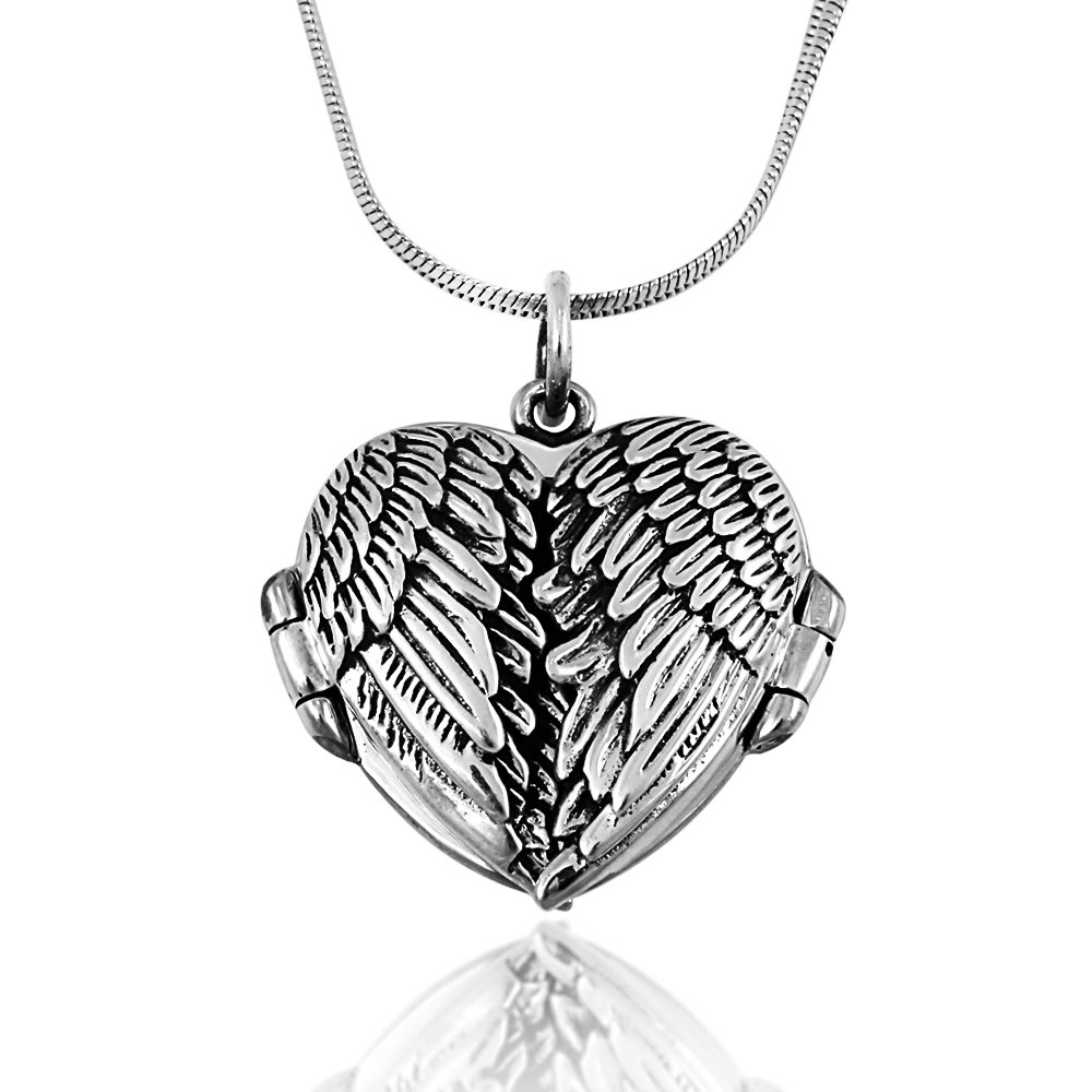 925 Oxidized Sterling Silver Celtic Angel Wings Heart Locket Pendant on Alloy Necklace Chain Chuvora NPE0138SL-CHUVNOON