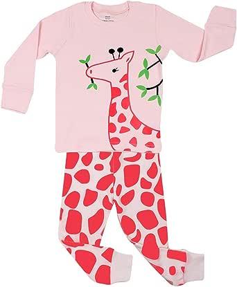 elowel | Pijamas De Niñas | Bebé, Pequeño, Chicas, Ropa De Dormir 2 Piezas | Algodon | Calido | Tamaño: 4 Años (104) | Colro: Rosa | Diseño: Jirafa