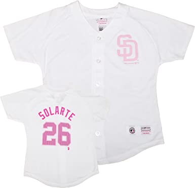 0aaeb8026 Yangervis Solarte San Diego Padres White Youth Girls Player Jersey (Medium  10 12)