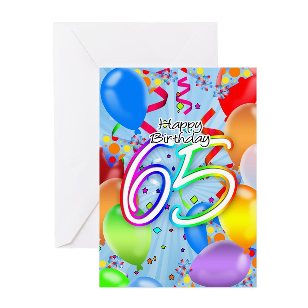 Amazon Cafepress 65th Birthday Greeting Card With Balloons
