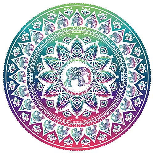 FINCIBO Large Round Towel Microfiber Soft Water Absorbent Multi-Purpose 59 inch for Beach Blanket Yoga Tapestry - Elephant Mandala (Beach Elephant)