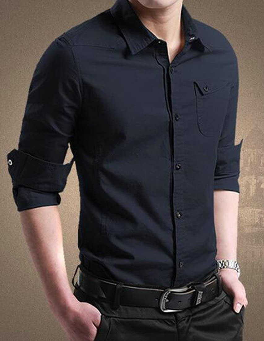 GloryA Mens Cotton Long Sleeve Slim Fit Juniors Button Down Casual Business Shirts