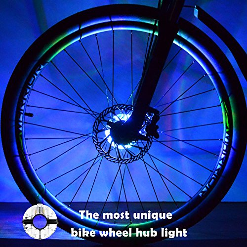 Rechargeable Bike Wheel Hub Lights, Waynewon Waterproof LED Bike Spoke Lights included 7 Color, for Safety Warning, Decoration and Christmas Present [1 Pack for 1 Tire]